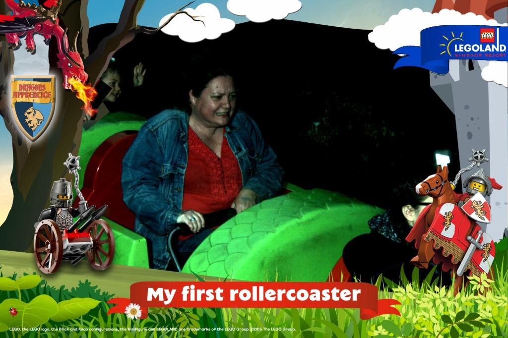 Tara freightened by kiddie roller coaster