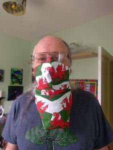Tara's partner Alan Cox in his Welsh beard mask