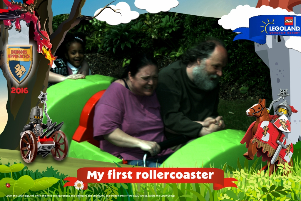 Tara and Alan on a roller coaster
